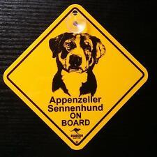 12cm Roadsign Schild mit Saugnapf Appenzeller Sennenhund Warnschild hund