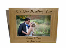 Our Wedding Day Wooden Photo Frame 7x5 -Personalise this frame-Free Engraving