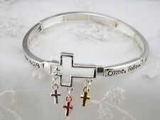 Silver Bible Verse Stretch Bracelet Matthew 4:19 Cross Charm Fashion Jewelry NEW