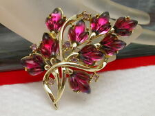 Vintage Signed Coro Gold Tone Rhinestone Fruit Salad Brooch Pin