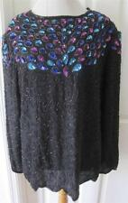 Leslie Fay Woman Silk Black Pink Blue Heavily Bead & Sequin Evening Top Sz  2X