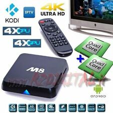 ANDROID TV BOX M8S UHD MEDIA PLAYER OCTA CORE 4K FULL HD WIFI LAN INTERNET SMART