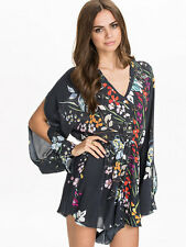 Free People Somedays Lovin Epiphany Floral Jumpsuit Romper Size M $109 Grey