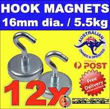 12X Magnetic Hooks Holders 16mm dia. 5.5kg hold pull