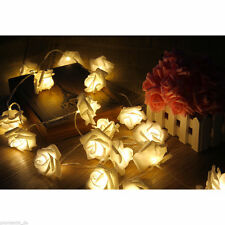 20 WARM WHITE LED BATTERY ROSE FLOWER BEDROOM LIGHTS FAIRY STRING WEDDING DECOR