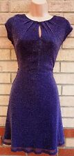 BILLIE & BLOSSOM PURPLE SILVER GLITTER SPARKLY SKATER PARTY FLIPPY TEA DRESS 8 S
