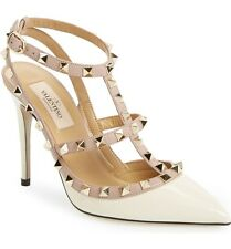 Current Valentino 'Rockstud' T-Strap Ivory Patten Leather Pumps Size 37 $995+