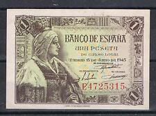 ESPAÑA  1 PESETA 1945 ISABEL LA CATÓLICA Pick#128  EBC  XF