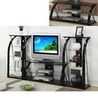 Black Glass Metal Dynamic TV Stand Entertainment Center Media Console / Shelf
