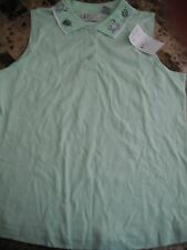 NEW ladies K.T. SPORT GREEN SLEEVELESS SHIRT fish turtles POLO petite large PL