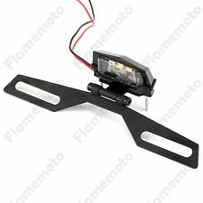 Motorcycle Mini LED License Plate Light Bracket For Honda Kawasaki Yamaha Suzuki