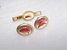 Vintage Men Anson Goldtone Cufflink Tie Clasp Set Fly Fishing Lure Lucite Acryli