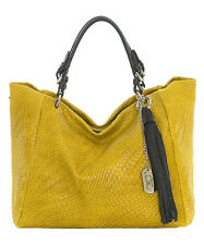 Anna Morellini Yellow Tassel - Accent Leather Tote   Bag NWT