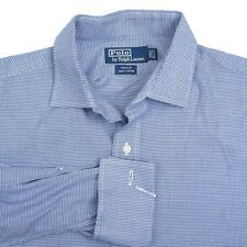 POLO RALPH LAUREN Phillips Blue Micro Check Cotton Mens Dress Shirt - 15.5 32