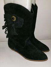 Vintage Black Suede and Fringe Cowboy Boots size 7.5