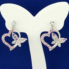 Butterfly Heart W Swarovski Crystal Love Pink New Stud Earrings Jewelry Gift