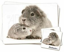 Silver Guinea Pigs 'Soulmates' Twin 2x Placemats+2x Coasters Set in G, SOUL-86PC