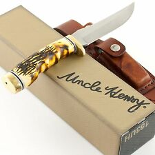 SCHRADE Uncle Henry GOLDEN SPIKE Fixed Knife 153uh New Stag Handle Hunting