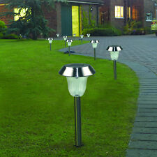 10x Garden Lawn Landscape Lamp Outdoor Stainless Steel LED Solar Path Way Light