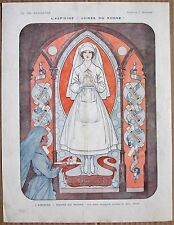 HEROUARD 1916 Vintage French Vie Parisienne Ad Print NURSE STAINED GLASS WINDOW