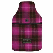 Luxurious Pink Plaid Tweed Merino Lambswool Cover 2 Litre PVC Hot Water Bottle