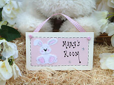E05 Personalised Rabbit Childrens Bedroom Door Birthday, Christmas Gift Plaque