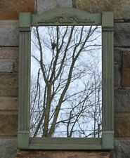 "PRiMiTiVE HANDCRAFTED ELK SAGE GREEN ORNATE MIRROR 20"" X 30"" SPRINGFIELD,OH /VT"