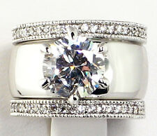 4.28 CT. Wide Solitaire CZ ETERNITY BAND Bridal Wedding 3 PC. Ring Set - SIZE 8