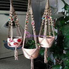 Jute Macrame Plant Hanger Indoor Outdoor Hanging Planter Basket Rope String YB