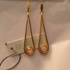 Robert Lee Morris Studio Gold Plated Linear Earrings + Faceted Peach Stone $195