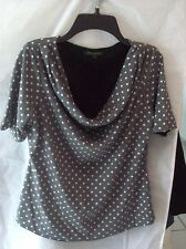 Woman's Gray w/White Polka Dots Short Sleeve Blouse from For Cynthia SIze PS
