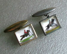 VINTAGE CUFFLINKS 1950s 1960s HORSE SHOWJUMPING INSET PICTURE AGED GILT METAL