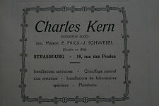 Pub Ad 1931 Alsace Strasbourg sanitaire chauffage plomberie Kern