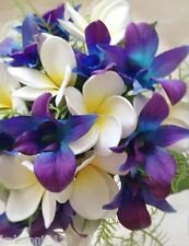 "Blue Purple orchids & Frangipani  ""Real Touch""  Bridal Bouquet set"