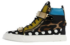 GIUSEPPE ZANOTTI Homme Calf Leather Multi-Media High-Tops 8 US 41 EU Italy CRAZY