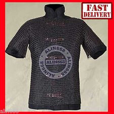 Chainmail Shirt Butted Black Medieval Chain Mail Armour Costume Medium Size Larp