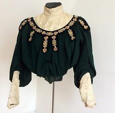 Victorian Blouse Bodice Padded Silk Net Lace Ornate Embroidery Corset Inner