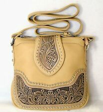 Montana West Concealed Carry Purse Floral Tooled Partial Leather Messenger Bag
