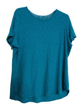 M&S PER UNA Turquoise Textured Crochet Lace Top Size UK 18 BNWT