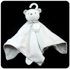 Carter's White Bear with Grey Stripes Baby Plush Security Blanket w/ Rattle NWT