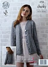 KNITTING PATTERN Ladies Long Sleeve Lace Panel Cardigan Chunky KingCole 4704