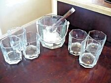 VINTAGE ARCOROC OCTIME OLD FASHIONED WHISKY TUMBLERS GLASSES 10 oz ICE BUCKET