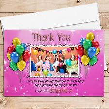 10 Personalised Girls Pink Sparkle Birthday Party Thank you PHOTO Cards N64