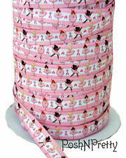 Designer 3 Yards 5/8 Print Fold Over Elastic Stretch FOE - Ballerina Girls