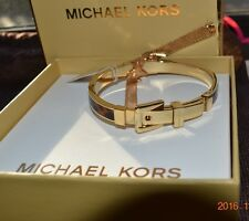 New in BOX  Michael Kors Heritage Gold Tone Tortoise Buckle Bangle Bracelet