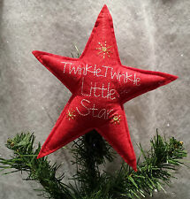 Red Felt Twinkle Twinkle Little Star Christmas Tree Topper Gisela Graham Top