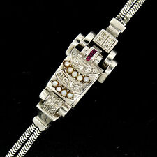 Retro Vintage Eska 14K White Gold Diamond Ruby Seed Pearl Mechanical Wrist Watch