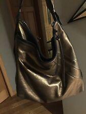 Kooba Alina Leather Zip Slouchy Hobo Bag Metallic