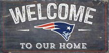 """New England Patriots Welcome to our Home Wood Sign - 12"""" x 6""""  Decoration Gift"""