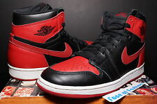 NIKE AIR JORDAN HI I 1 BLACK VARSITY RED WHITE ORIGINAL OG 1994 BANNED BAN HIGH